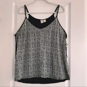 Artisan NY Strappy Tank Top Navy Blue White XL NWT